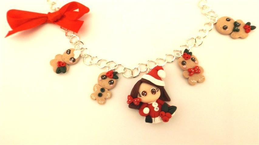 JUST XMAS - FIMO NATALE - BRACCIALETTO    BISCOTTINI ALLO ZENZERO GINGERBREAD con bambolina babbo natale modello 2   - ideali per collane bracciali orecchini- Idea regalo