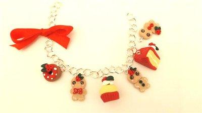 JUST XMAS - FIMO NATALE - BRACCIALETTO    BISCOTTINI ALLO ZENZERO GINGERBREAD  e DOLCETTI di NATALE   - ideali per collane bracciali orecchini- Idea regalo