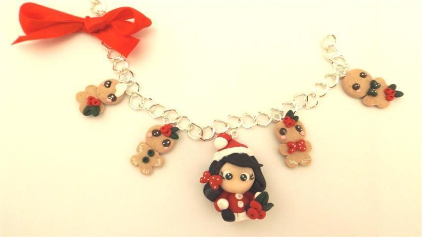 JUST XMAS - FIMO NATALE - BRACCIALETTO    BISCOTTINI ALLO ZENZERO GINGERBREAD con bambolina babbo natale modello 3   - ideali per collane bracciali orecchini- Idea regalo