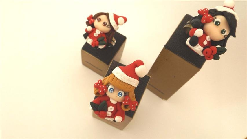 JUST XMAS - Anello regolabile con mini doll BABBE NATALE - biscottino - FIMO NATALE - idea regalo