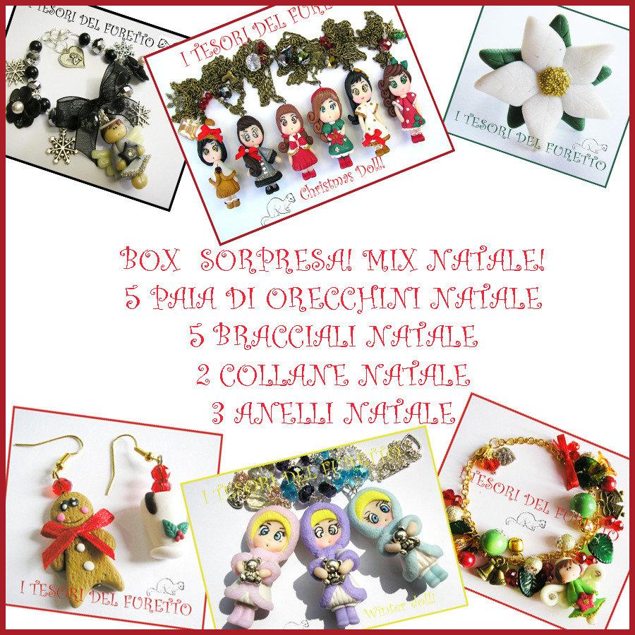 """Box di Natale a sorpresa!  Mix Bijoux! """" Orecchini, bracciali,collane anelli """" Bijoux natalizi Idea regalo economica donna bambina fimo cernit"""