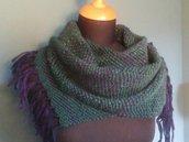 Sciarpa misto lana/alpaca verde e viola al telaio