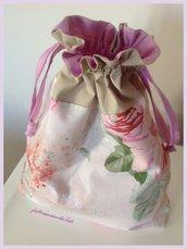 Sacchetto portatutto a fiori rosa e beige