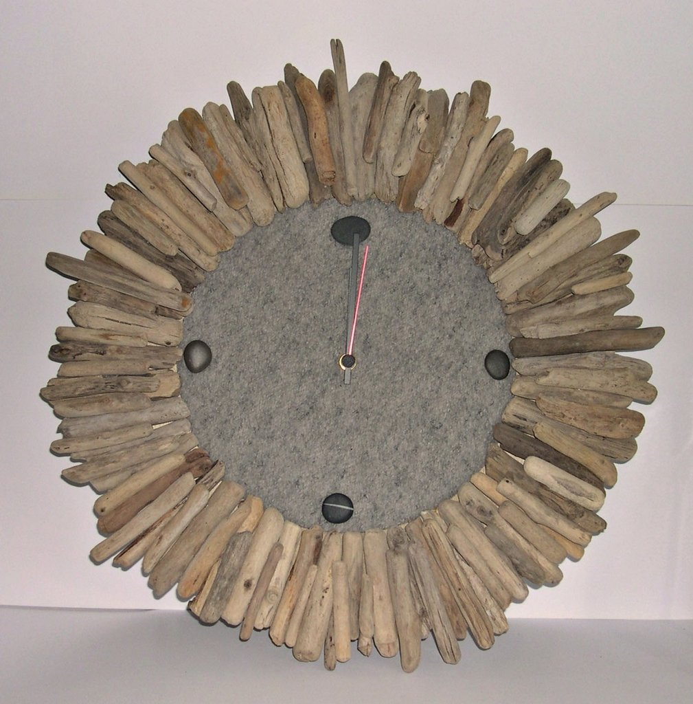 Orologio da parete con legni di mare per la casa e per for Idee per orologio da parete
