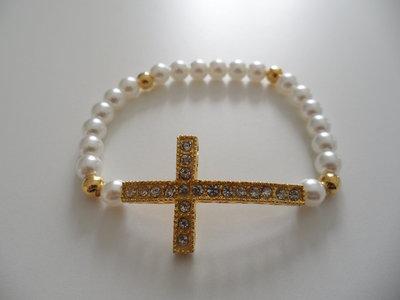 Bracciale Bianco con Croce Strass