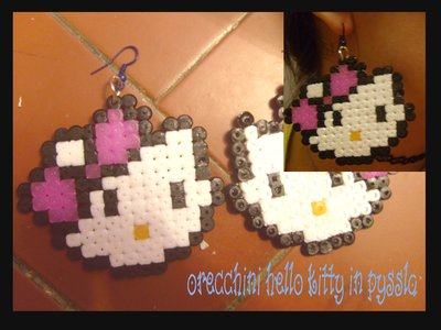 orecchini hello kitty in pyssla