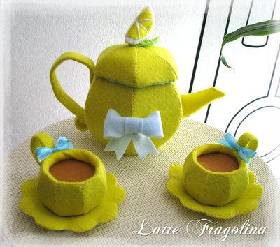 """Pronto per la spedizione!!Giocattolo in feltro """"Set da tè Limone"""" - """"tè rimovibile!"""""""