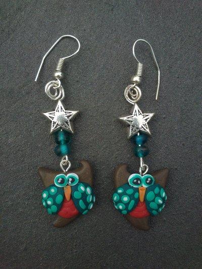 orecchini con gufino e stella