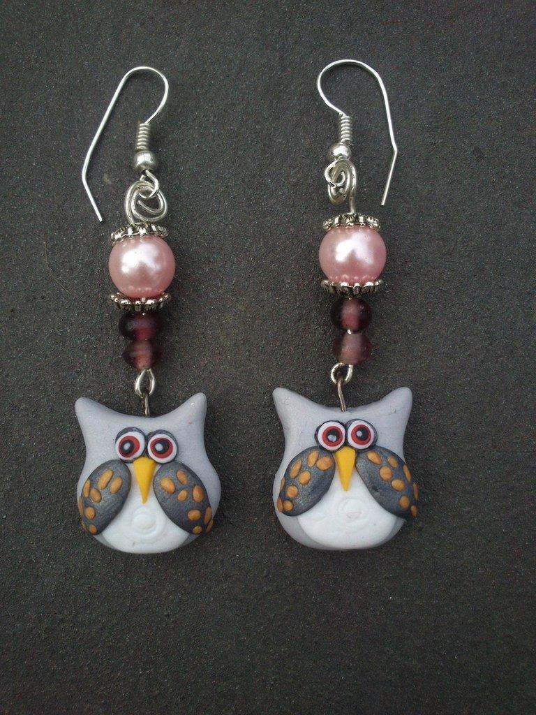 orecchini con gufo e perla rosa