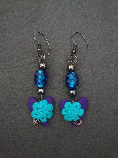 orecchini con cuore e fiorellino
