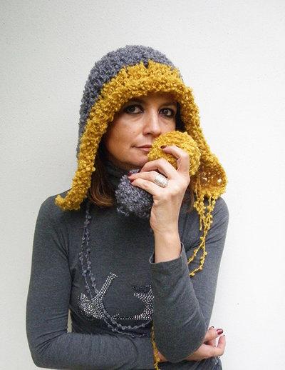 Cappello per donna in lana bouclè Accessori donna autunno inverno Grigio giallo