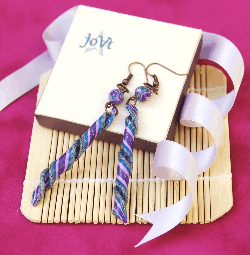 Orecchini eli granito/lilla artigianali, fatti a mano, made JoVì