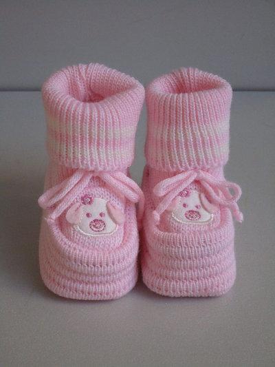 Babucce,scarpette, neonata col.rosa in lana
