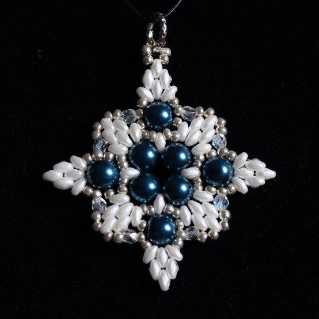 Ciondolo Elisabetta blu/bianco