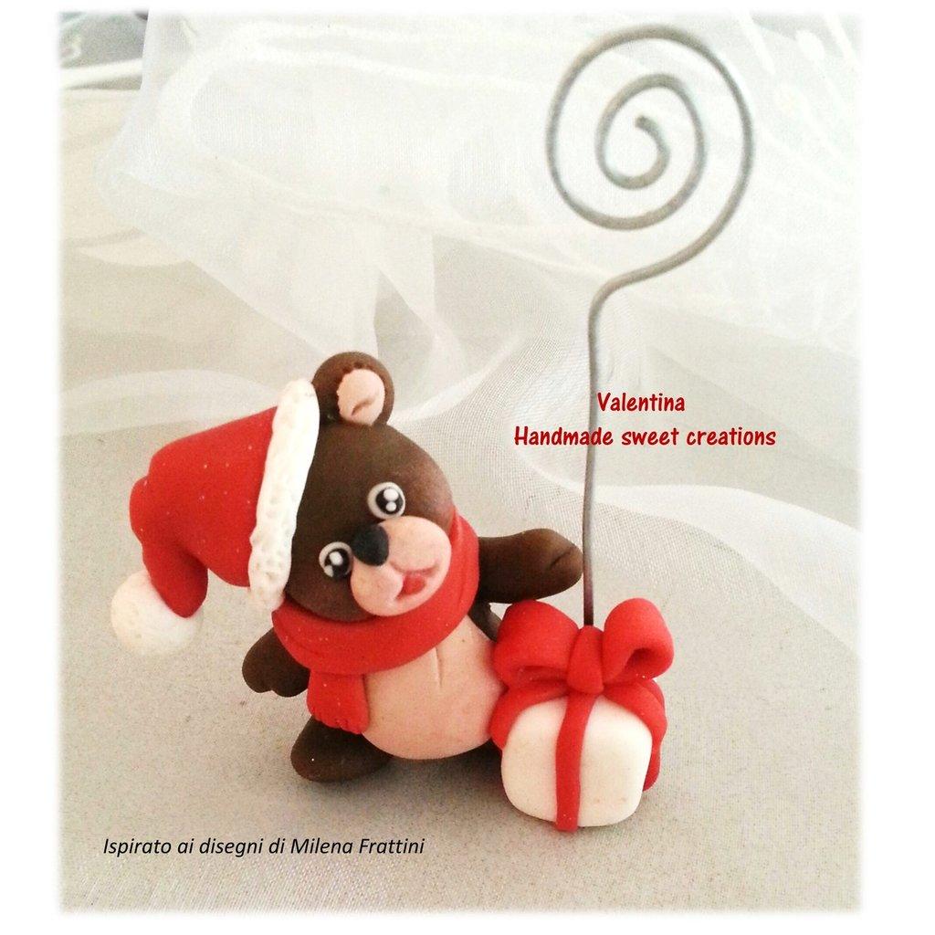 Segnaposto portamemo Orsetto Babbo Natale Idea regalo