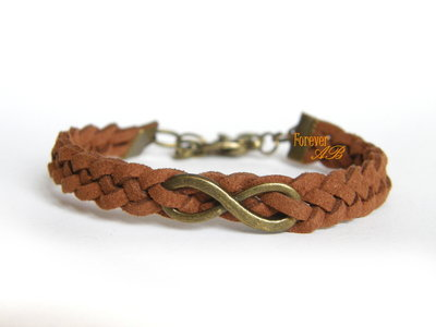Bracciale intrecciato pelle alcantara marrone simbolo 'Infinito' bronzo uomo donna regalo