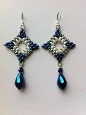 Orecchini argento-blu