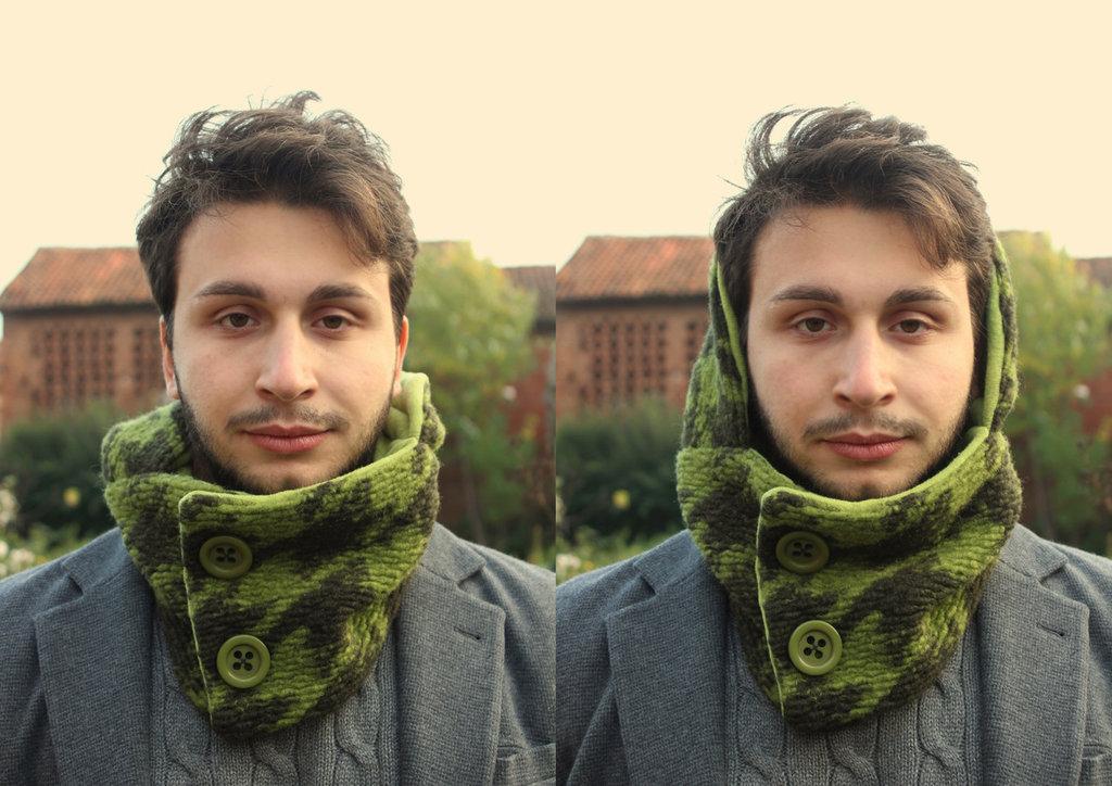 Sciarpuccio Scaldacollo più Cappuccio mod.Monogram green