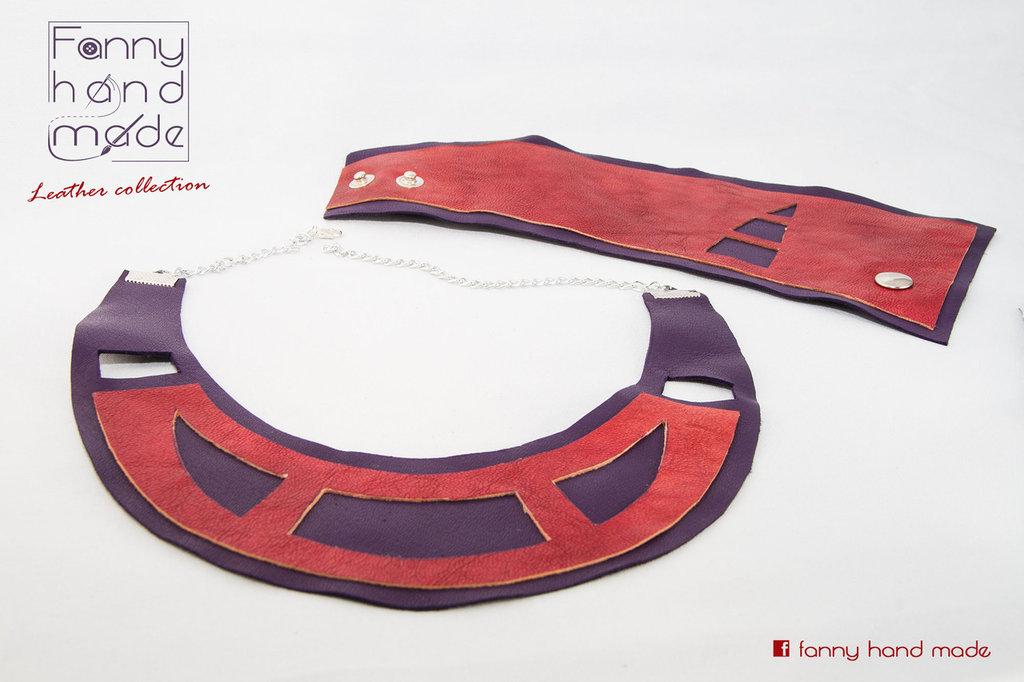 Collana e bracciale / polsino in pelle viola e rossa
