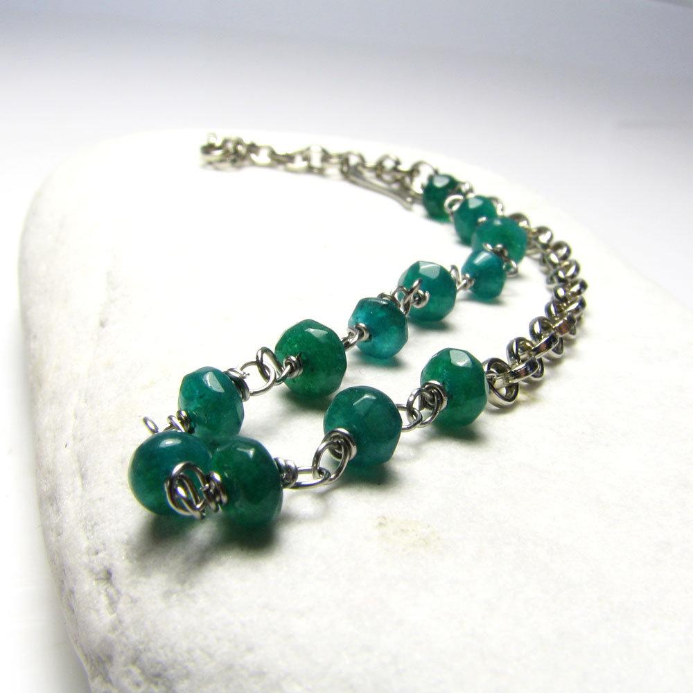 Bracciale con pietre verdi, bracciale in acciaio, bracciale verde - Deep Green - cod.0315