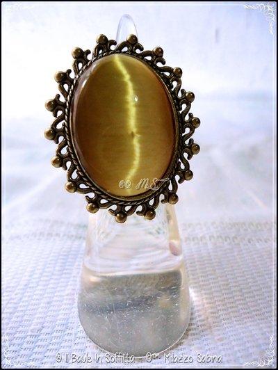 Anello in Bronzo con Cabochon in Vetro di Murano Oro Ducato