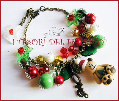 """Bracciale Natale 2014 """"Fufuorsetto rosso verde"""" fimo cernit kawaii idea regalo ragazza bambina"""