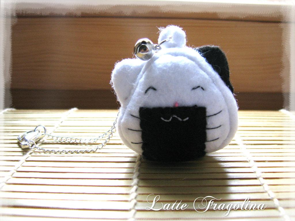 Kawaii neko onigiri charm per borsa in pannolenci - Gatto palla di riso charm per borsa