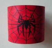 bracciale in pelle cuoio con ragnatela e ragno dipinti a mano