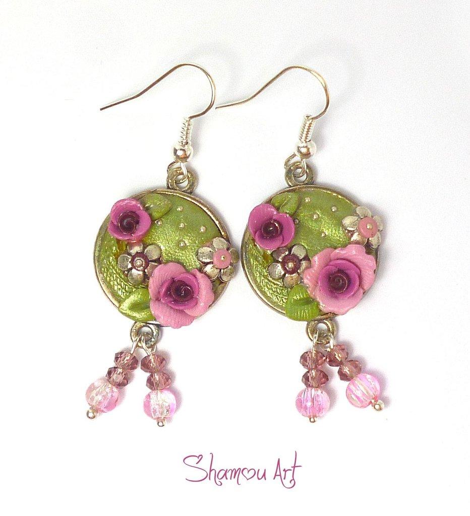 Orecchini fimo Autunno rose lilla in pasta polimerica fatti interamente a mano