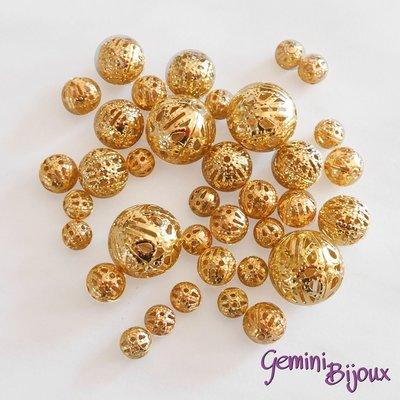 Lotto 10 perle in metallo filigranate golden, mix di misure