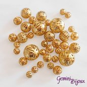 Lotto 10 perle in metallo filigranate golden, mix di misure