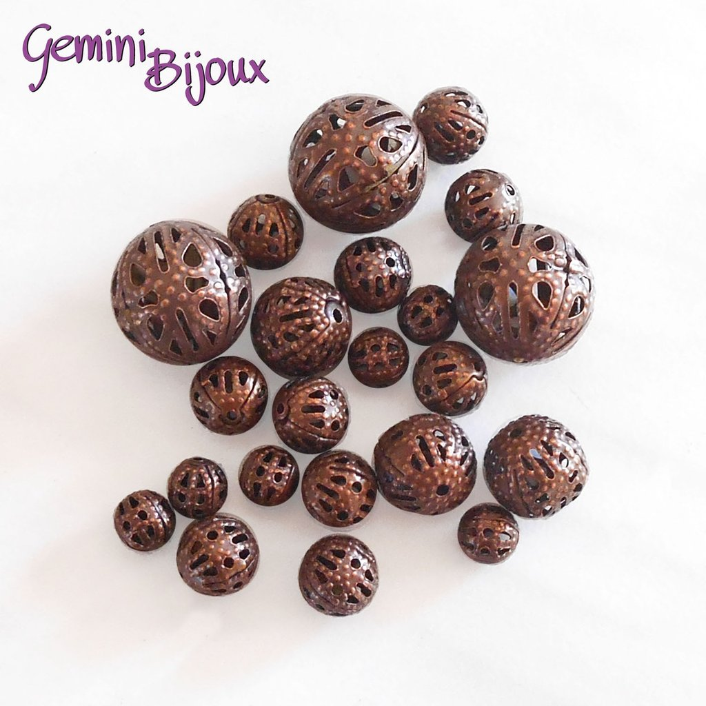 Lotto 10 perle in metallo filigranate red copper, mix di misure