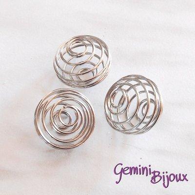 Lotto 10 gabbie tonde in metallo mm.18x18 platino