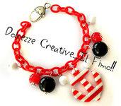Bracciale Rosso con Ancora e perle Marinaio