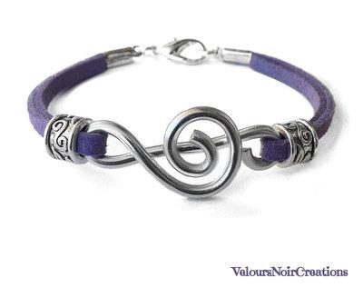 Bracciale chiave di violino creata a mano cinturino lilla