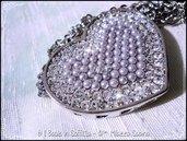 Collana in acciaio con Maxi ciondolo Cuore con perle e cristalli