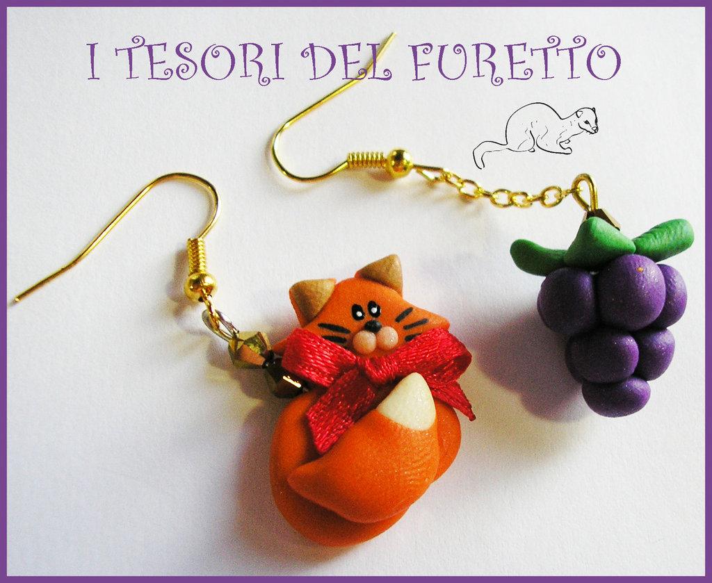 """Orecchini Autunno """"Volpe e l'uva"""" fimo cernit kawaii idea regalo natale bambina ragazza"""