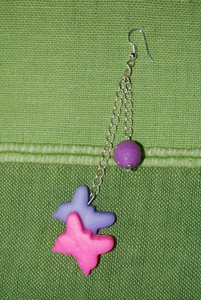 Orecchino singolo farfalle - rosa