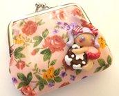 Portamonete con bambolina,fiocco,principessa Rapunzel o Aurora in fimo idea regalo!!