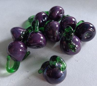 10 Perline MELANZANE TONDE in Vetro
