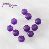 Lotto 20 Perle tonde Frosted effetto ghiaccio 8mm purple