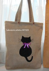 BORSA  GATTO NERO SHOPPING VELLUTO MARRONE ARTIGIANALE IDEA REGALO NATALE