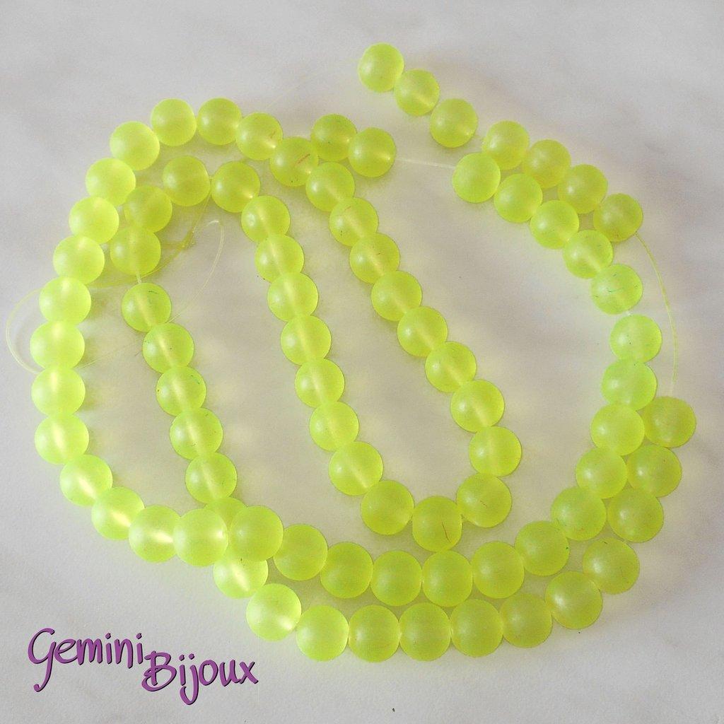 Lotto 20 Perle tonde Frosted effetto ghiaccio 10mm giallo