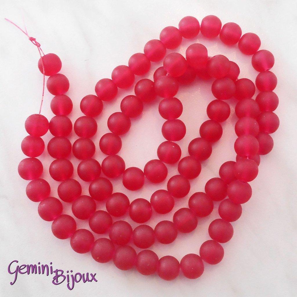 Lotto 20 Perle tonde Frosted effetto ghiaccio 10mm rosso jelly