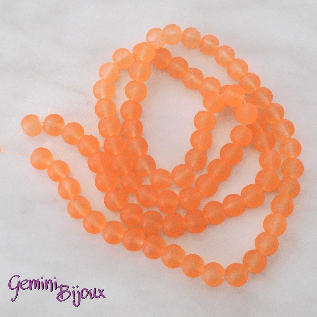 Lotto 20 Perle tonde Frosted effetto ghiaccio 10mm arancio
