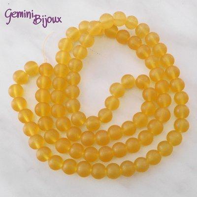 Lotto 20 Perle tonde Frosted effetto ghiaccio 10mm giallo oro