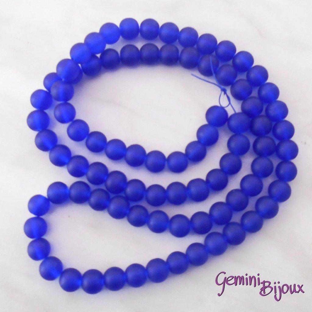 Lotto 20 Perle tonde Frosted effetto ghiaccio 10mm blu