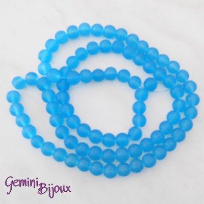 Lotto 20 Perle tonde Frosted effetto ghiaccio 10mm azzurro