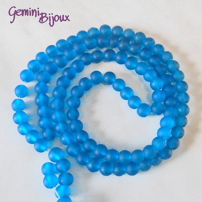 Lotto 20 Perle tonde Frosted effetto ghiaccio 6mm azzurro