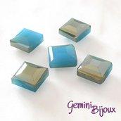 Lotto 2 perle Electroplate sfaccettate quadrate 13x13 azzurro